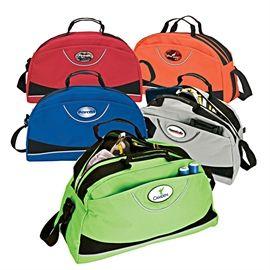 Duffel Bag  Velcro side pocket, zippered main compartment, handles, adjustable shoulder strap.