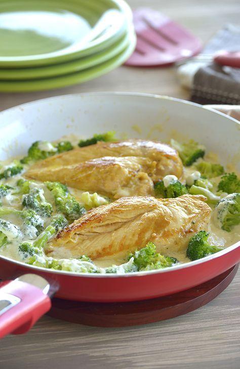 Pollo Alfredo con Brócoli.