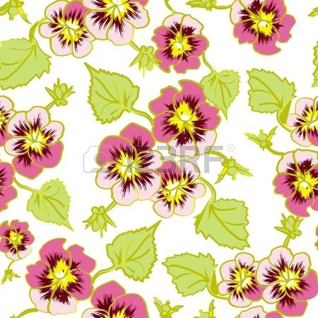 floral pattern flower pansy, isolated on white background Stock Vector