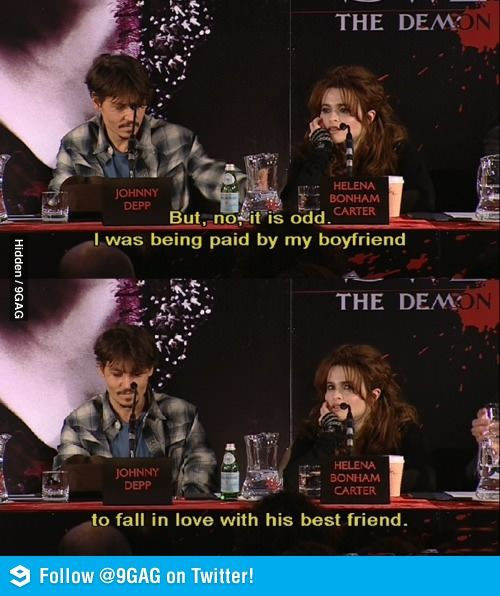 Sweeney Todd love triangle.  Tim Burton seems to frequently pay his wife and his best friend to be in love