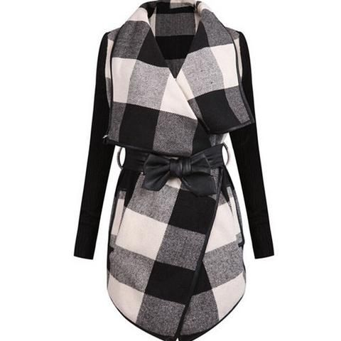 Trench Coat Casual Splicing Black White Plaid Long Sleeve Belt Coat
