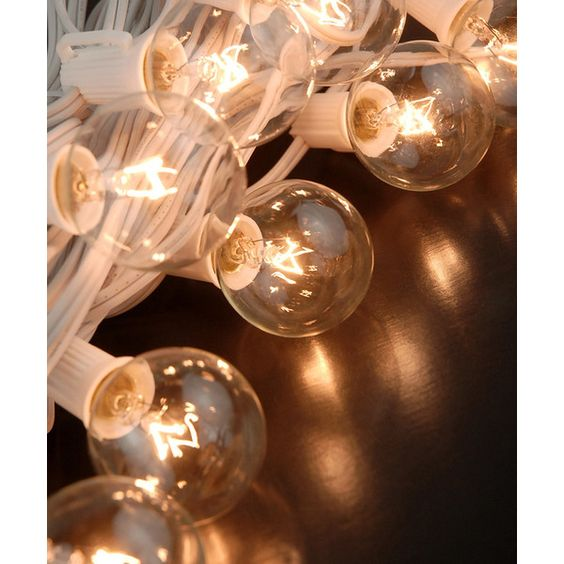 Save On Crafts White 31.5' Wire Clear-Bulb String Lights (¥3,235) ❤ liked on Polyvore featuring home, lighting, white lantern, round lamp, white party lights, white string light and white cord string lights