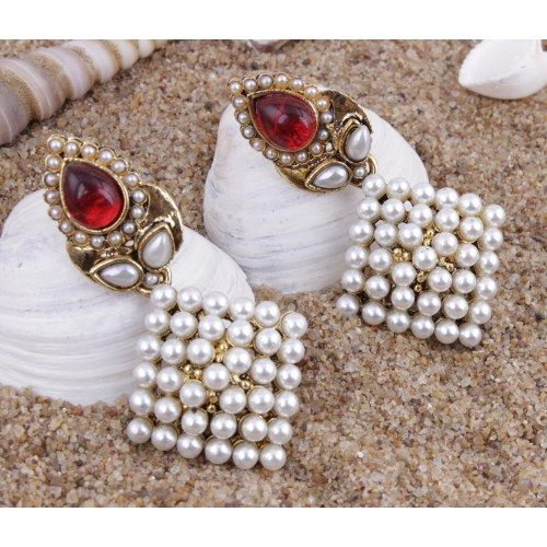 Pearl Maroon Danglers With Antique Polish