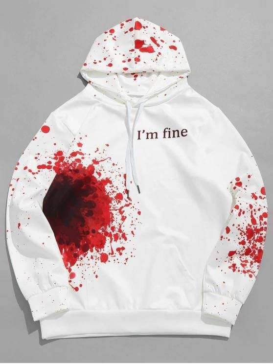 brand new shades of release date $19.27 Halloween Inspired Spatter Letter Pattern Big Pocket Hoodie ...