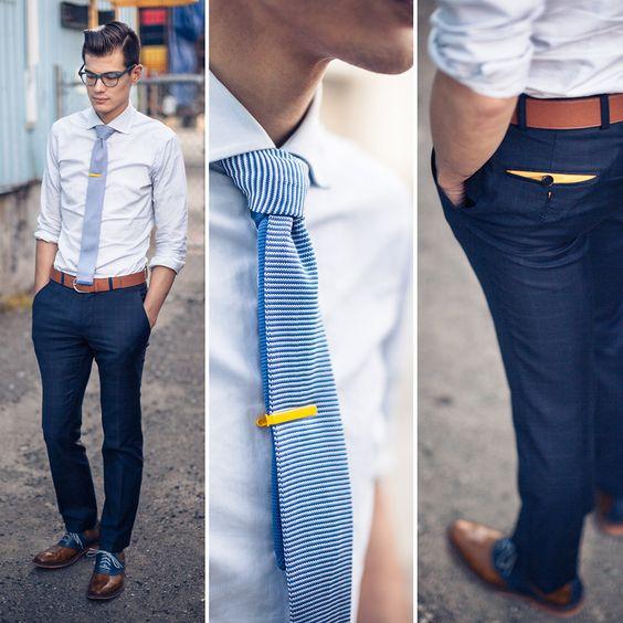 Yellow Tie bar Mont Pellier *Rivetti Blue Plaid Dress Pants ...