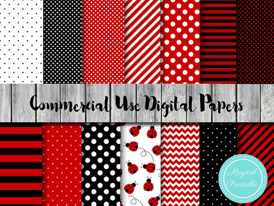 Digital paper - Ladybugs, Bees, Watermelon & Kiwi by Pamela Meneses on Etsy
