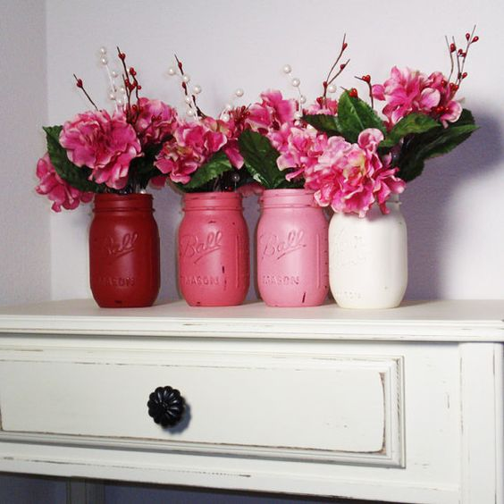 4- Hand Painted Pint Mason Jar Flower Vases-Valentine Colors-Country Decor-Cottage Chic-Shabby Chic-French Chic on Wanelo