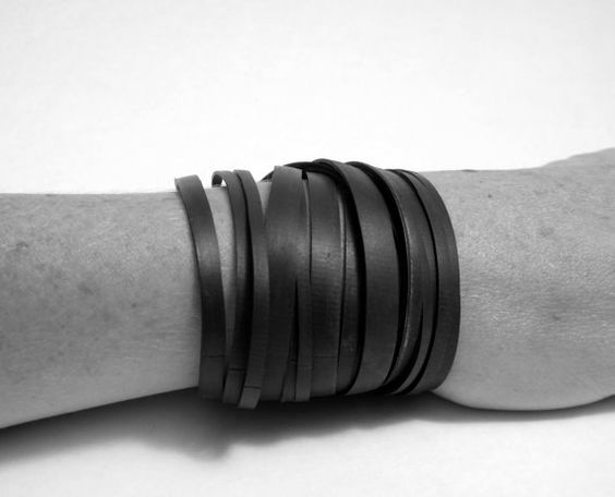 Bicycle Bracelet Black Wrap Innertube Chunky Thick and Thin Strands