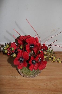 #Decorative artificial flowers red #poppy in #glass ball *wd19*,  View more on the LINK: 	http://www.zeppy.io/product/gb/2/162021509749/