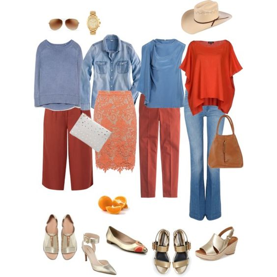 Ensemble: Rust, Light Blue & Gold by youlookfab on Polyvore featuring polyvore, fashion, style, Zara, J.Crew, Roksanda, 7 For All Mankind, Alice + Olivia, Naturalizer and Kate Spade