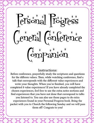 October 2013 General Conference Packets | Young Women's | Pinterest ...