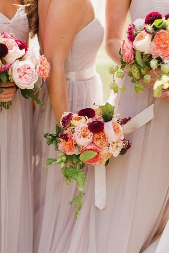 chic bridesmaid dresses and bouquets ideas; photo: Michele M. Waite Photography