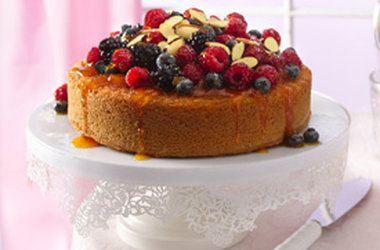 Almond cake topped with fresh fruit