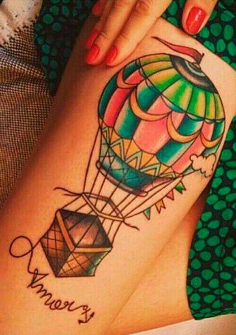 Tatuaje De Globo Aerostatico Amor Con Ancla Balloon Tattoo Hot