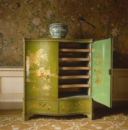 View Of The Green And Gold Lacquer Chinoiserie Furniture In The State  Bedchamber At Nostell Priory