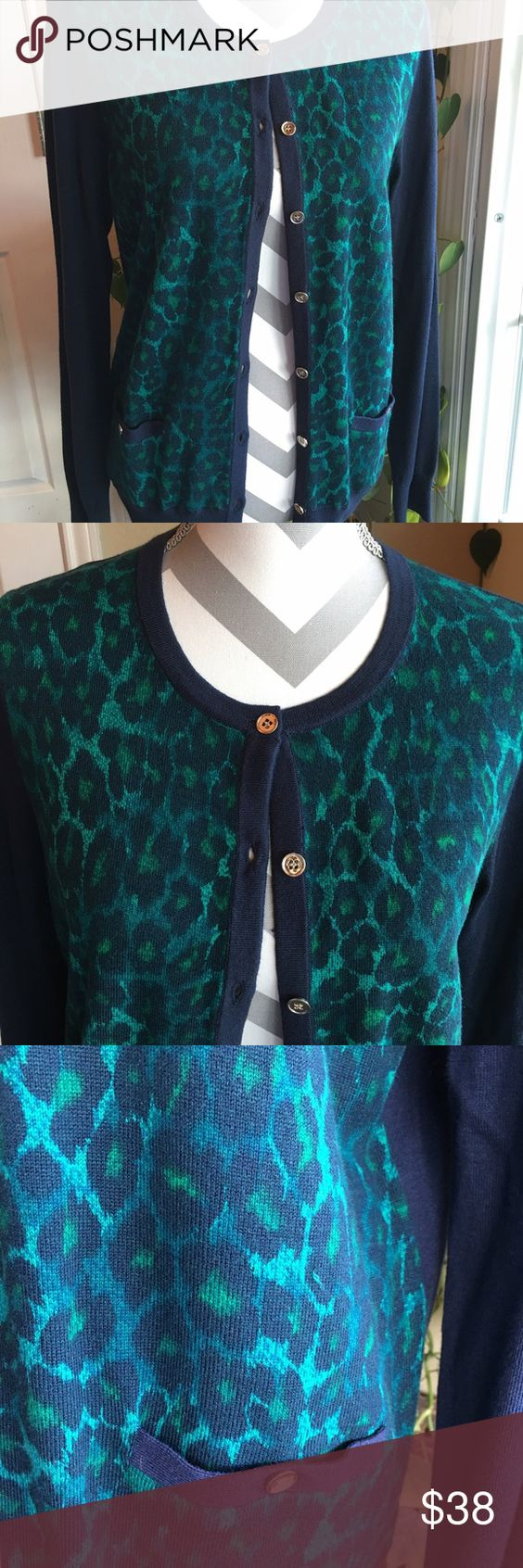 Ann Taylor cardigan Beautiful Blu and green cardigan.  Animal print with gold tone buttons.  NWT. Ann Taylor Sweaters Cardigans