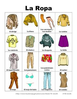 Free Spanish Clothing Vocabulary In Picture Form Really