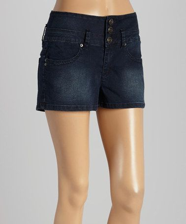 Look at this #zulilyfind! Dark Blue Fade Stacked High-Waist Denim Shorts by YMI #zulilyfinds
