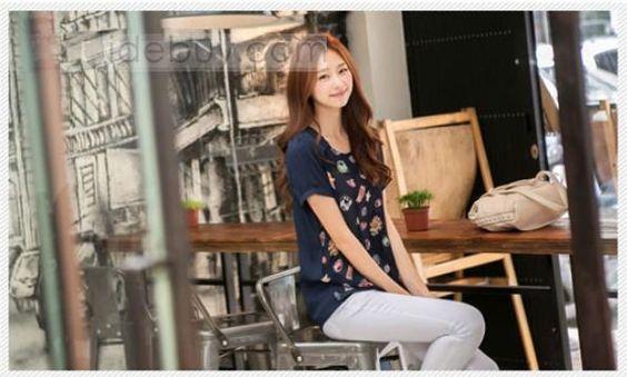 新着韓国スタイルショートスリーブシフォンTシャツ