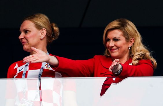 MOSCOW, RUSSIA - JULY 15, 2018: Croatia's President Kolinda Grabar-Kitarovic (R) during the closing ceremony of FIFA World Cup Russia 2018 before the final match between France and Croatia at Luzhniki Stadium. Mikhail Tereshchenko/TASS (Photo by Mikhail TereshchenkoTASS via Getty Images)
