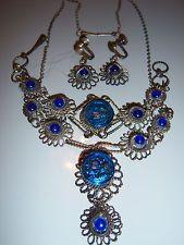 VTG ART DECO CZECH GLASS BLUE RHINESTONE NECKLACE BRACELET EARRING SET PARURE