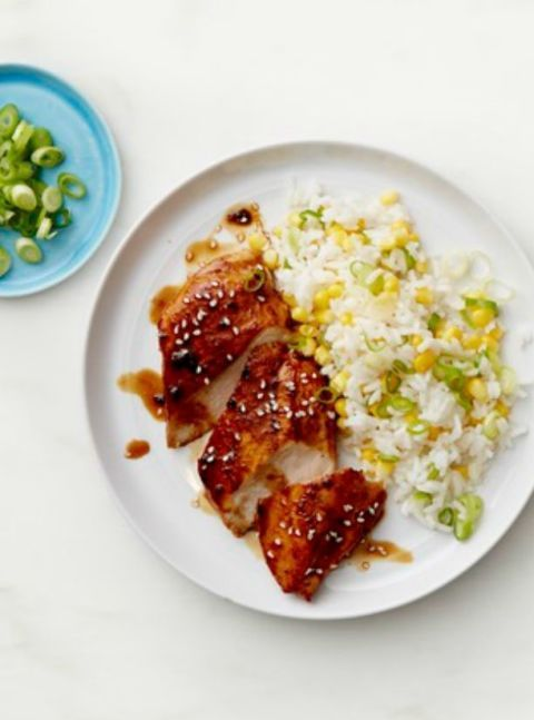 Sticky Chicken With Scallion And Corn Rice Recipe Healthy Chicken Recipes Heart Healthy Dinners Heart Healthy Recipes