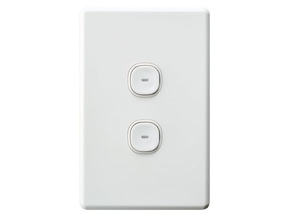 Clipsal Slimline Impress 2 Two Gang Double Push Button