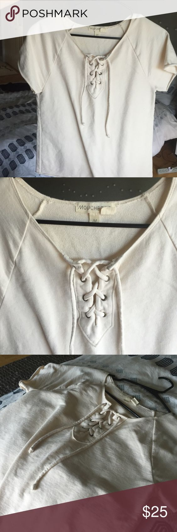 Lace up Urban Outfitters shirt Cream lace up tie shirt. Size medium. Great condition. Worn only a few times. Urban Outfitters Tops