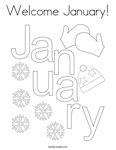 Welcome January Coloring Page Twisty Noodle Preschool Scrapbook January Crafts Letters For Kids