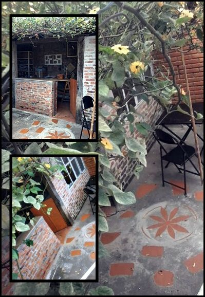 meu atelier,  embaixo de um pé de roseira , adoroo