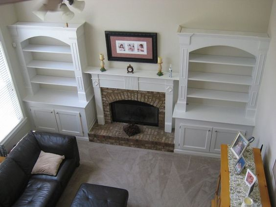 I added built in bookshelves around fireplace in living room *Options… :: Hometalk