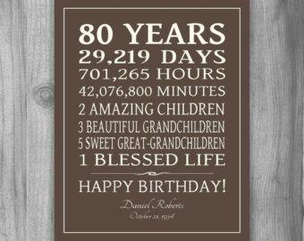 80th BIRTHDAY GIFT Sign Print Personalized by PrintsbyChristine
