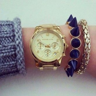 jewels michael kors gold watch navy bracelets stacked jewelry