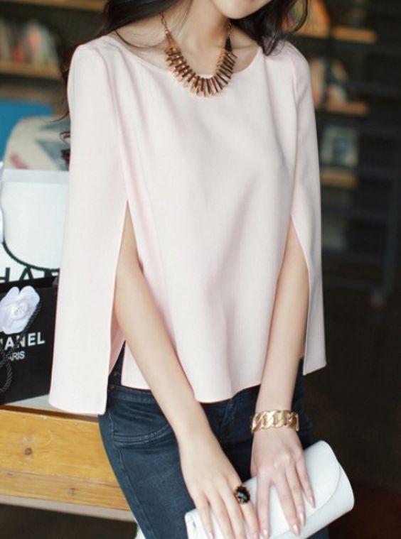 Pink Split Long Sleeve Chiffon Blouse - abaday.com