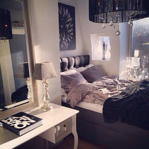 Cream grey black and mauve bedroom