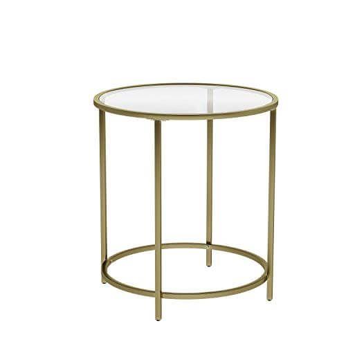 Vasagle Beistelltisch Rund Glastisch Mit Goldenem Metallgestell Kleiner Couchtisch Nachttisch Sofatisch Balkon Robustes Hartglas Stabil Dekorativ Gold In 2020 Beistelltische Kleiner Couchtisch Glastische