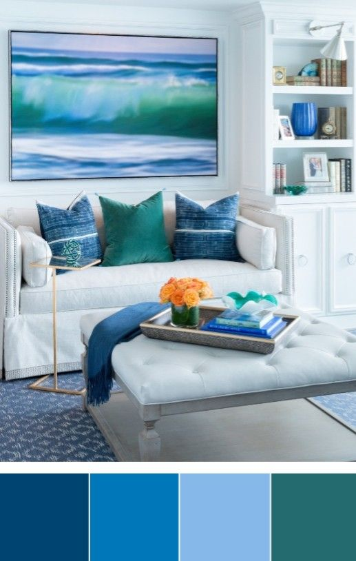Classic Coastal Beach Color Palettes Living Room Decor Ideas ...