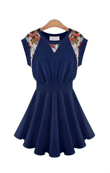 Dark Blue Flowers Print O-neck Pleating Sleeveless Dress