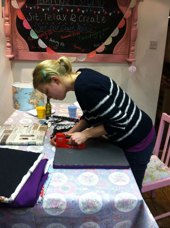 Noticeboard making at an I Love Vera craft night in Ilkley