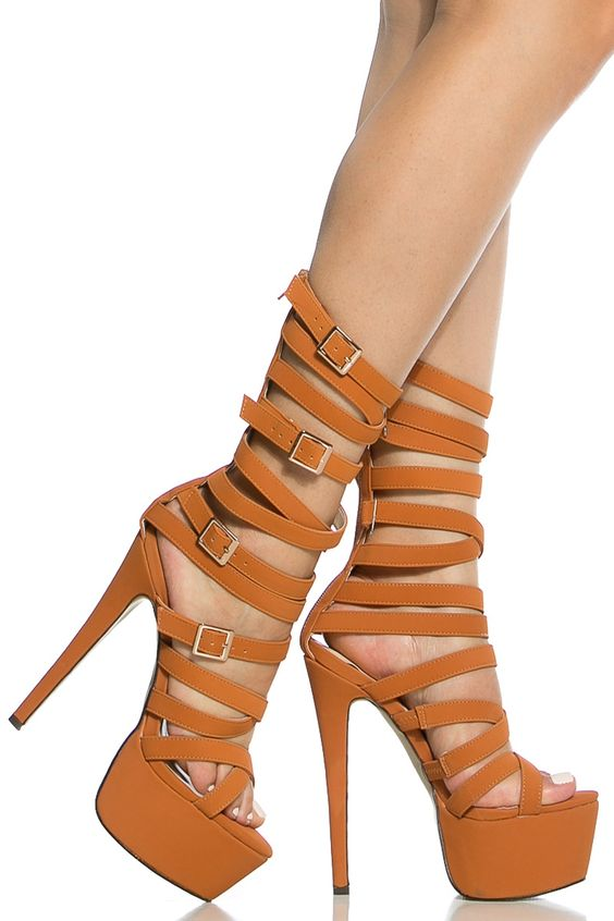 Rust Faux Nubuck Strappy Platform Heels @ Cicihot Heel Shoes online store sales:Stiletto Heel Shoes,High Heel Pumps,Womens High Heel Shoes,Prom Shoes,Summer Shoes,Spring Shoes,Spool Heel,Womens Dress Shoes