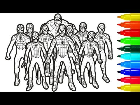 Spiderman Brotherhood Coloring Pages Spiderman Brotherhood Coloring Pages With Colored Markers In 2021 Spiderman Coloring Avengers Coloring Pages Avengers Coloring