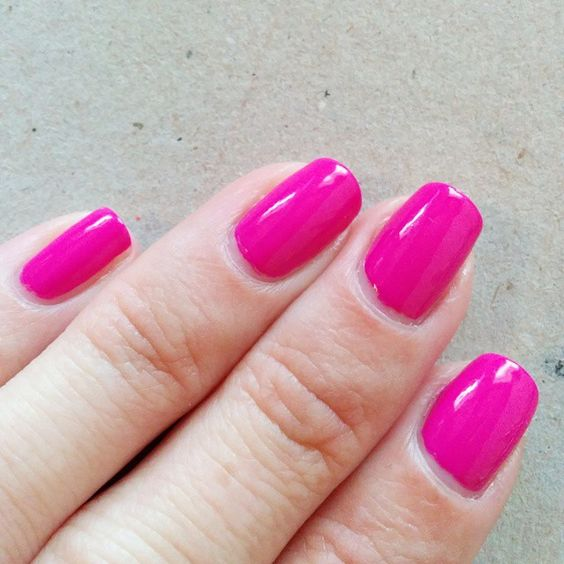 Orly Risky Behavior, 1 coat. A little darker in real life, but still very, very bright. Very easy to apply.
