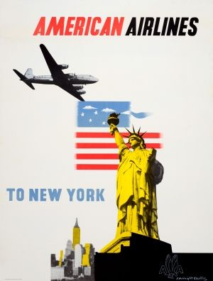 New York American Airlines DC-6 McKnight Kauffer, 1950s - original vintage poster by Edward McKnight Kauffer listed on AntikBar.co.uk