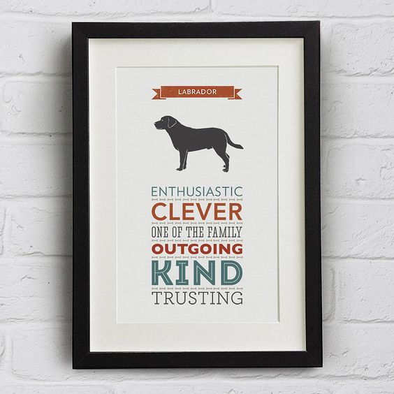 labrador/dachshund/springer dog breed traits print by well bred design | notonthehighstreet.com. Will need a whole wall for all of ours! xxx