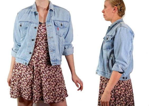 Small Light Blue Jean Jacket // 90's Grunge by IntertwinedVintage, $26.00