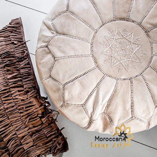 pouffe cuir,Hand Made Boho Moroccan Pouf Tan Leather ottoman footstool Poof Poufs Pouffe Pouffes Leather Natural. Pouf leather Pouffe