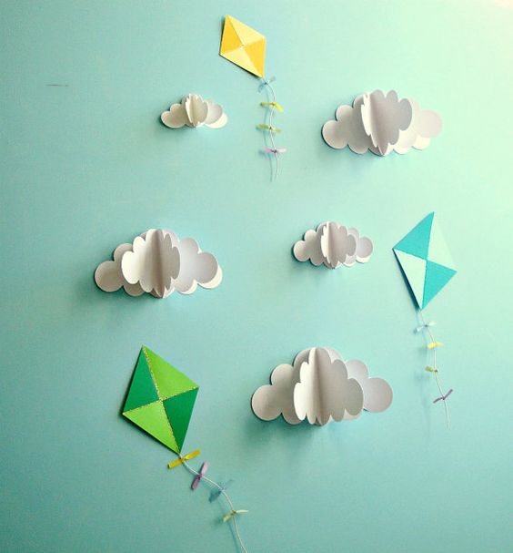 Paper walls wall decor and 3d paper on pinterest for Decoration kite