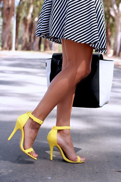 Yellow heels and striped dress...YES!  #yellowheels #stripeddress