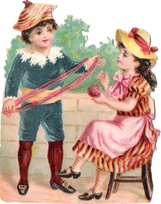 Oblaten Glanzbild scrap die cut chromo Kind child Paar Knabe lady girl Mädchen:
