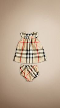 Cap Sleeve Check Cotton Dress | Burberry